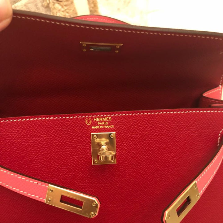 Hermès Kelly HSS 25 Rouge Casaque/Rose Confetti Sellier Epsom Gold Hardware GHW C Stamp 2018 - The French Hunter