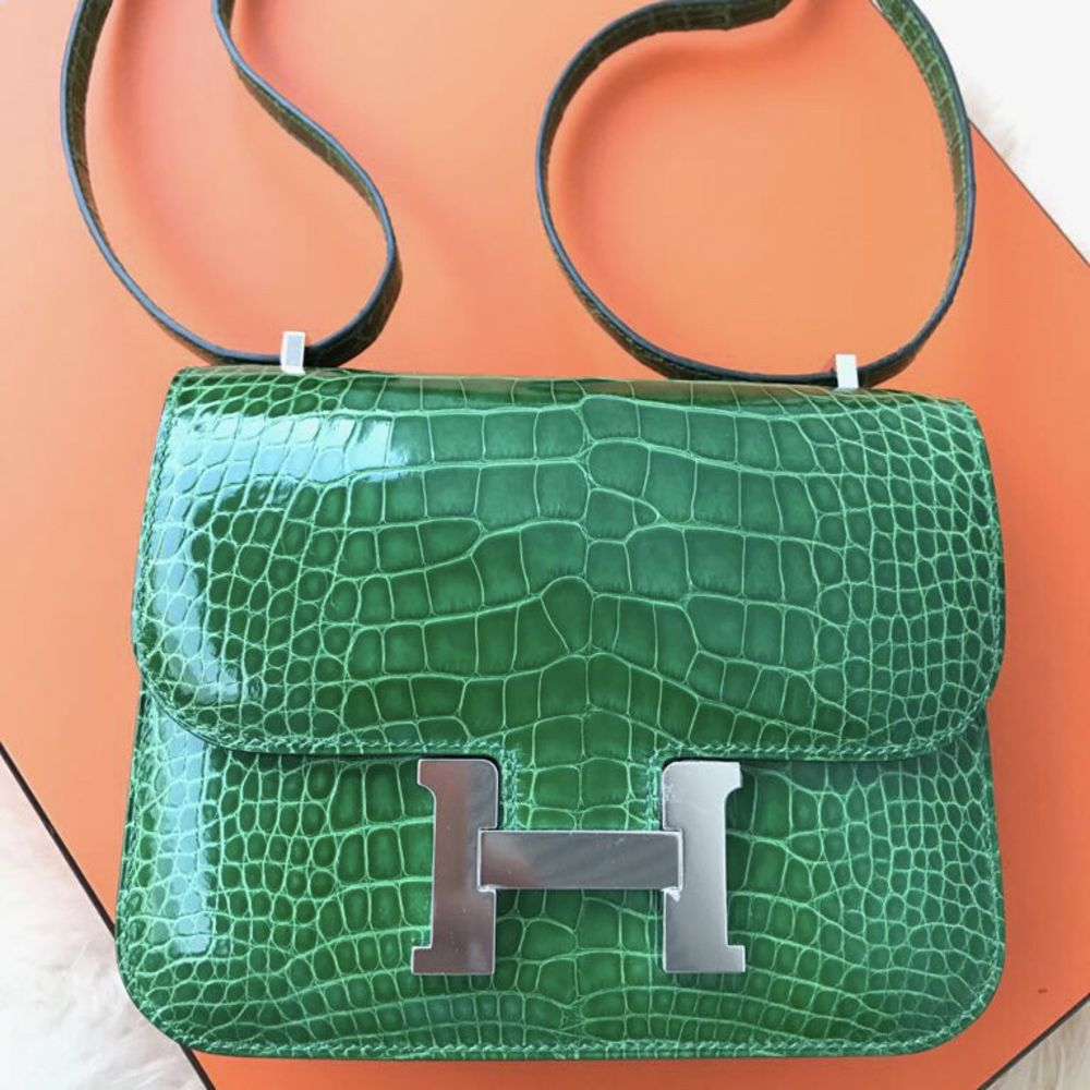 Hermès Constance 18 Cactus Alligator Mississippi Lisse Palladium Hardware PHW A Stamp 2017 - The French Hunter