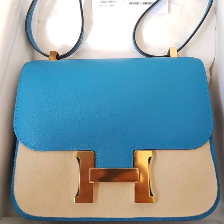 Hermès Constance 24 Bleu Zanzibar Evercolor Gold Hardware GHW C Stamp 2018 - The French Hunter