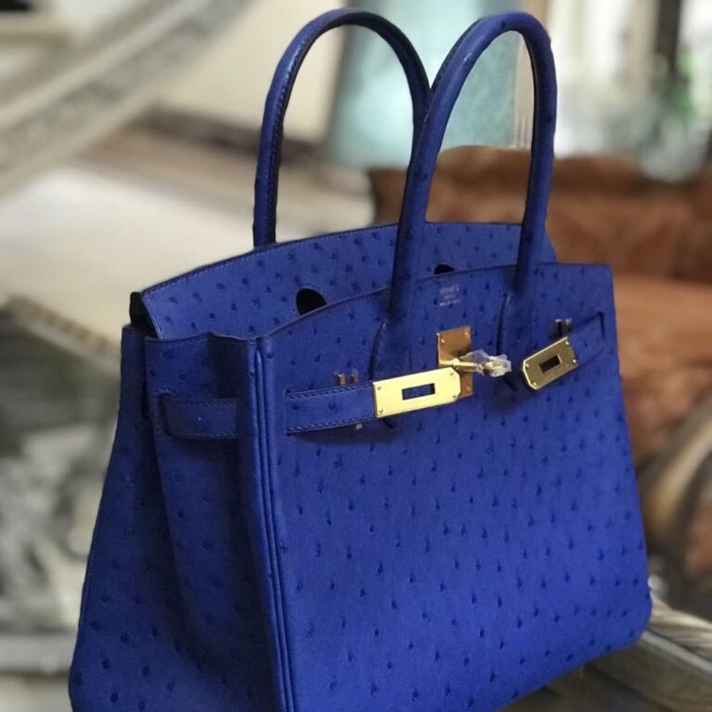 Hermès Birkin 30 Bleu Saphir Ostrich Gold Hardware GHW C Stamp 2018 - The French Hunter