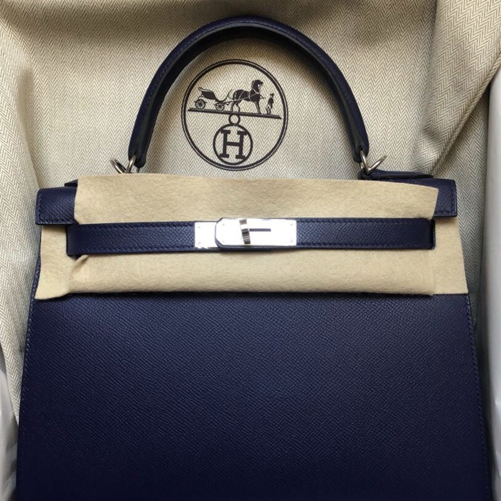 Hermès Kelly 28 Bleu Encre Sellier Epsom Palladium Hardware PHW C Stamp 2018 - The French Hunter