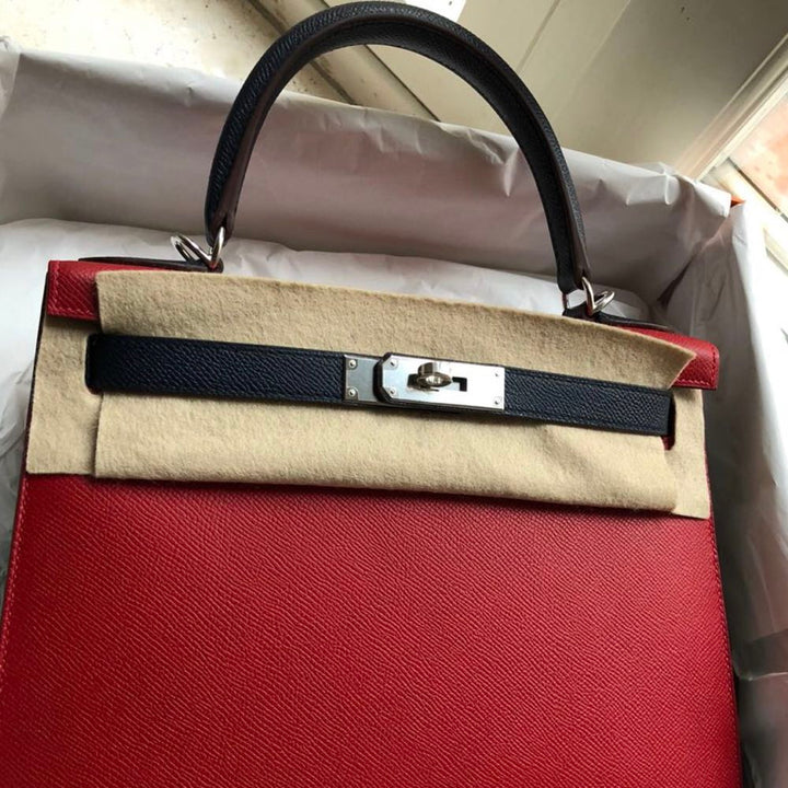 Hermès Kelly HSS 28 Rouge Casaque/Bleu Indigo Sellier Epsom Palladium Hardware PHW C Stamp 2018 - The French Hunter