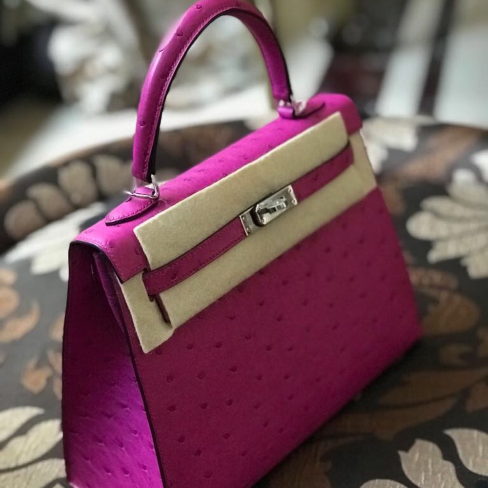 Hermès Kelly 25 Rose Pourpre Sellier Ostrich Palladium Hardware PHW C Stamp 2018 - The French Hunter