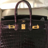 3f2e03074f Hermès Birkin 25 Prunoir Crocodile Niloticus Lisse Gold Hardware GHW A Stamp  2017 - The French
