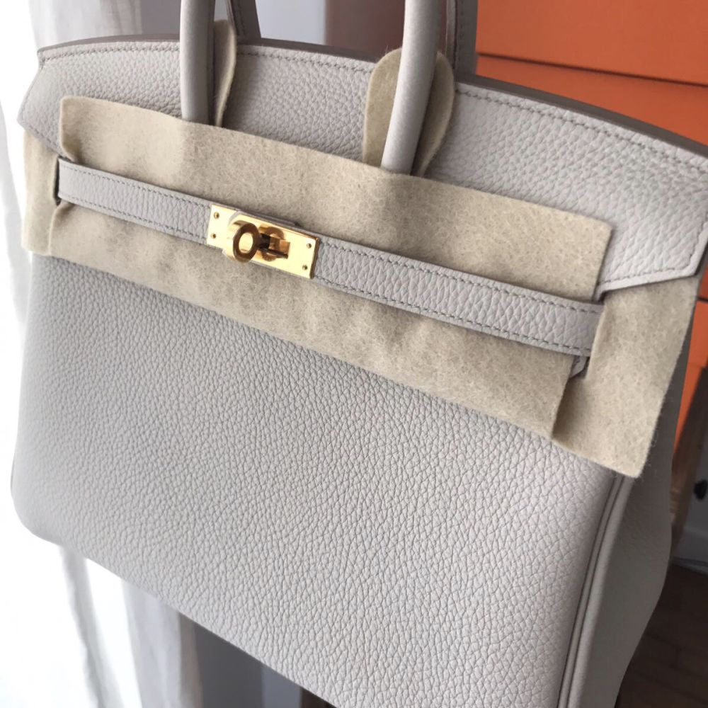 Hermès Birkin 25 Beton Togo Gold Hardware GHW C Stamp 2018 - The French Hunter
