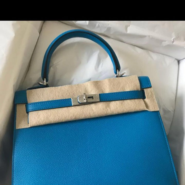Hermès Kelly 25 Bleu Zanzibar Sellier Chevre Mysore Palladium Hardware PHW C Stamp 2018 - The French Hunter