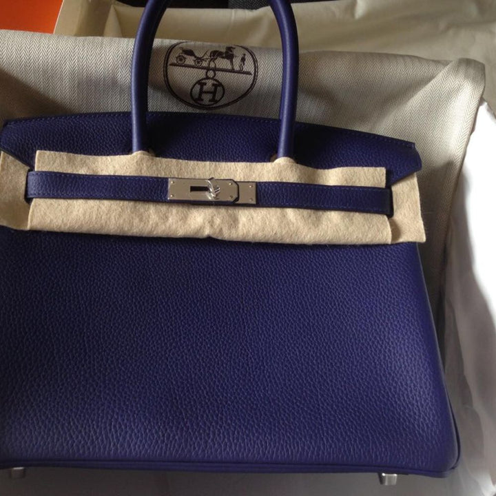 Hermès Birkin 30 Bleu Encre Togo Palladium Hardware PHW C Stamp 2018 - The French Hunter
