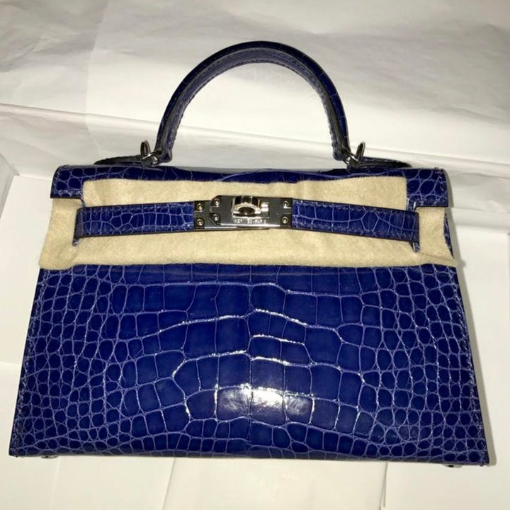 Hermès Kelly 20 Bleu Saphir Sellier Alligator Mississippi Lisse Palladium Hardware PHW C Stamp 2018 - The French Hunter