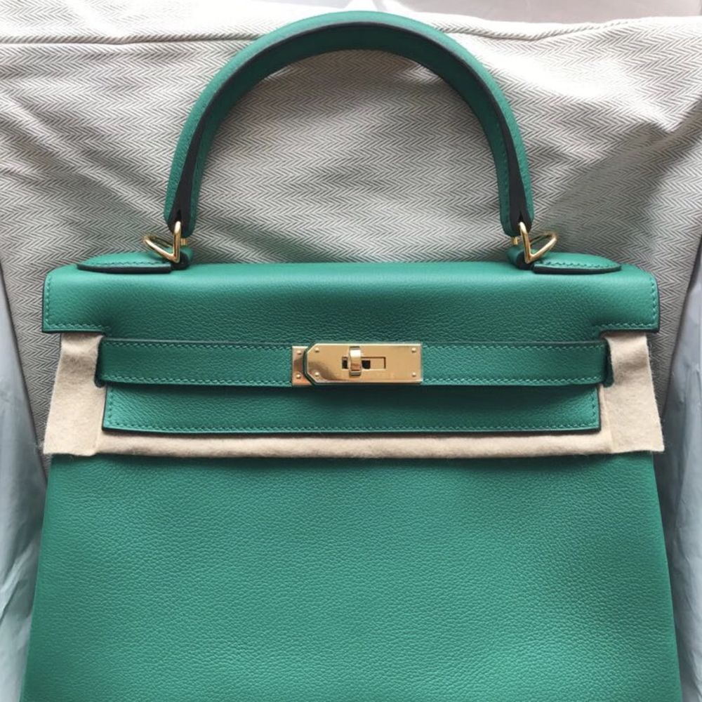 Hermès Kelly 28 Vert Vertigo Evercolor Gold Hardware GHW C Stamp 2018 - The French Hunter