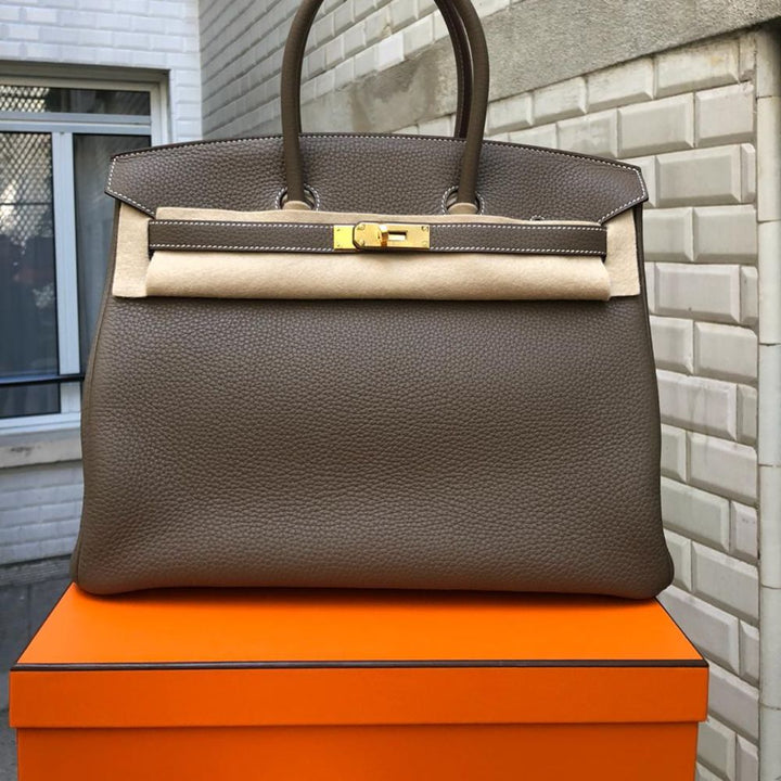 54fb1e8a2b Hermès Birkin 35 Etoupe Taurillon Clemence Gold Hardware GHW C Stamp 2018