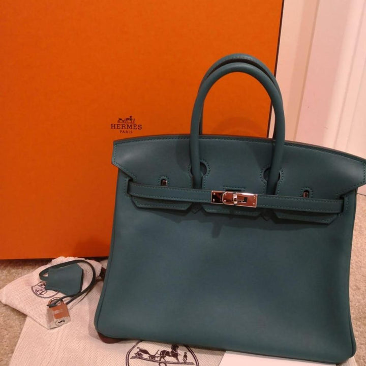 Hermès Birkin 25 Malachite Swift Palladium Hardware PHW A Stamp 2017 - The French Hunter