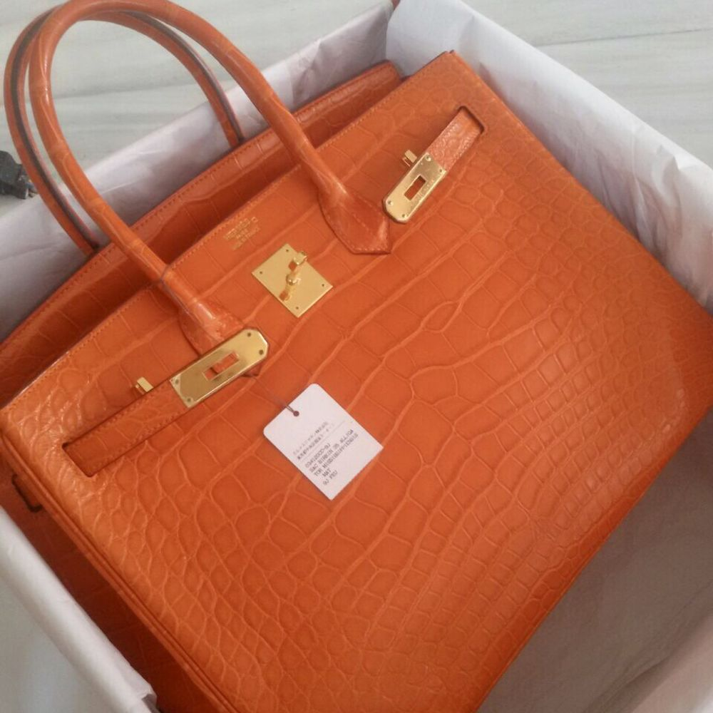 Hermès Birkin 30 Feu Alligator Mississippi Matte Gold Hardware GHW R Stamp 2013 - The French Hunter