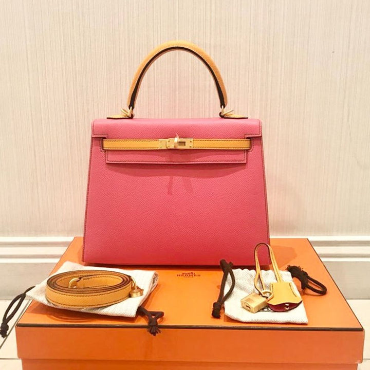 Hermès Kelly HSS 25 Rose Azalee/Jaune d'Or Sellier Epsom Gold Hardware GHW C Stamp 2018 - The French Hunter