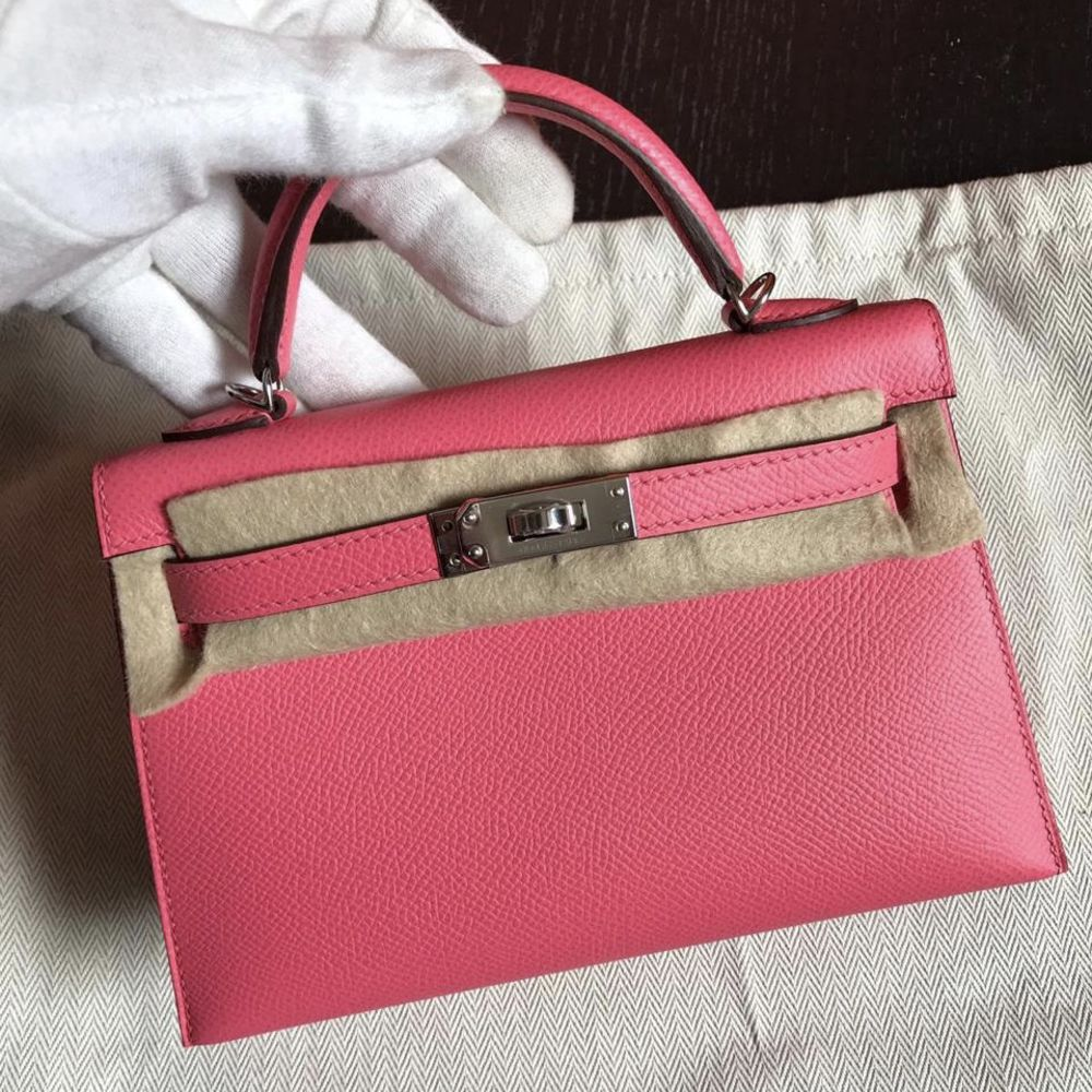 Hermès Kelly 20 Rose Azalee Sellier Epsom Palladium Hardware PHW C Stamp 2018 - The French Hunter