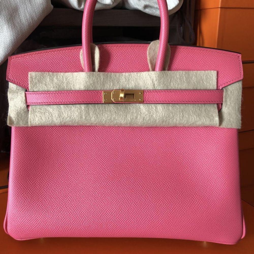 Hermès Birkin HSS 25 Rose Azalee/Gris Perle Epsom Brushed Gold Hardware BGHW C Stamp 2018 - The French Hunter
