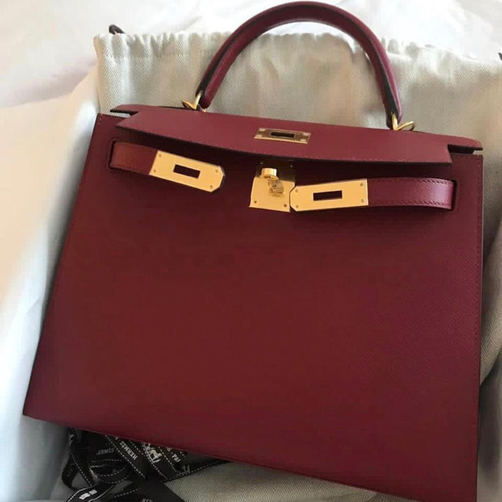 Hermès Kelly 28 Rouge Grenat Sellier Epsom Gold Hardware GHW C Stamp 2018 - The French Hunter
