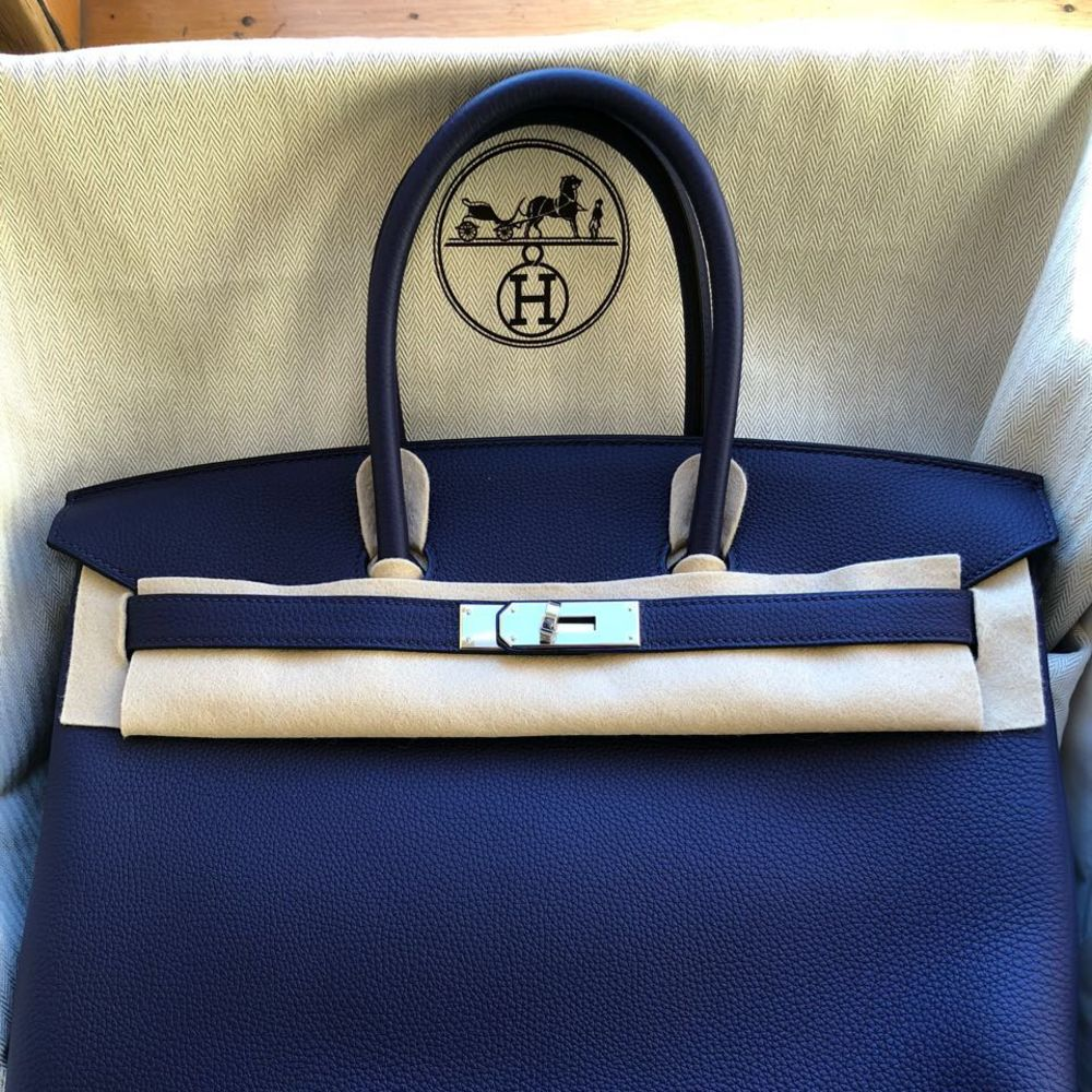 Hermès Birkin 35 Bleu Encre Togo Palladium Hardware PHW C Stamp 2018 - The French Hunter