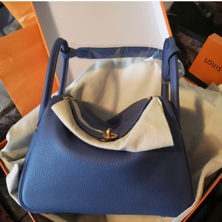 Hermès Lindy 30 Bleu Brighton Taurillon Clemence Gold Hardware GHW C Stamp 2018 - The French Hunter