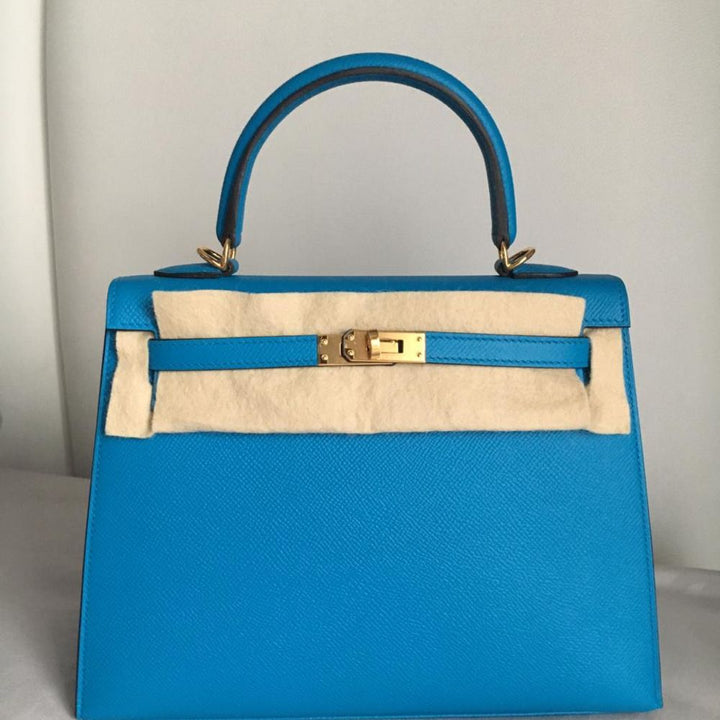 Hermès Kelly 25 Bleu Zanzibar Sellier Epsom Gold Hardware GHW C Stamp 2018 - The French Hunter