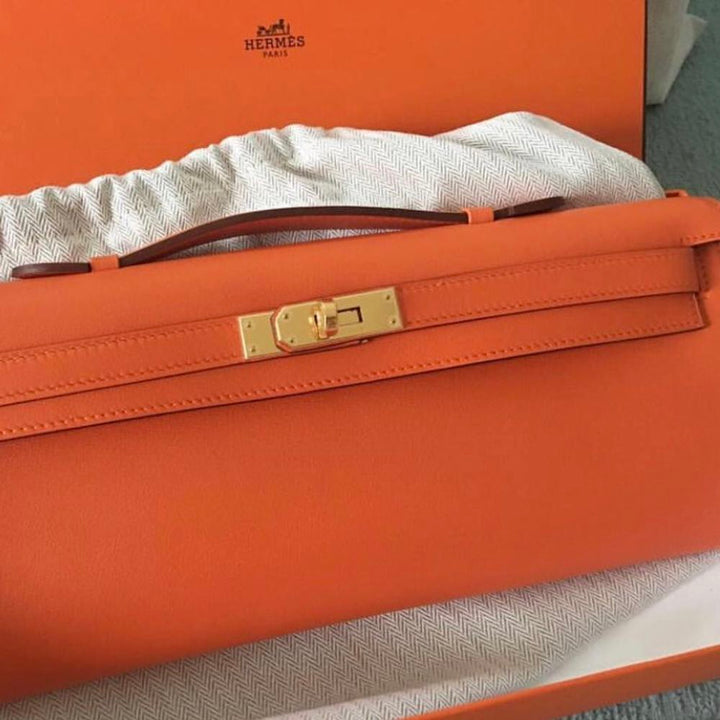 Hermès Kelly Cut Orange Swift Gold Hardware GHW X Stamp 2016 - The French Hunter