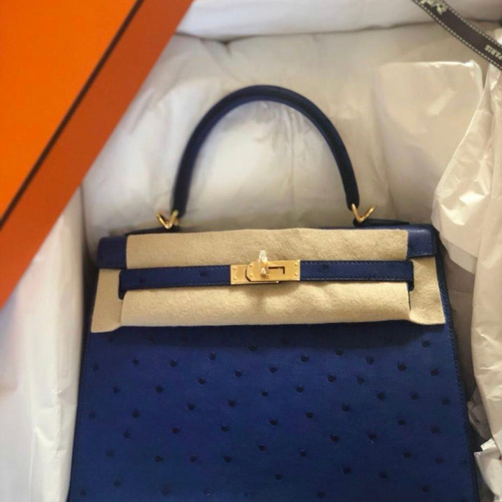 Hermès Kelly 25 Bleu Saphir Sellier Ostrich Gold Hardware GHW C Stamp 2018 - The French Hunter