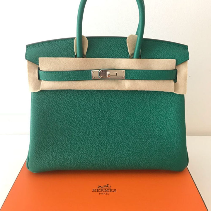 Hermès Birkin 30 Vert Vertigo/Vert Fonce Taurillon Clemence Palladium Hardware PHW C Stamp 2018 - The French Hunter