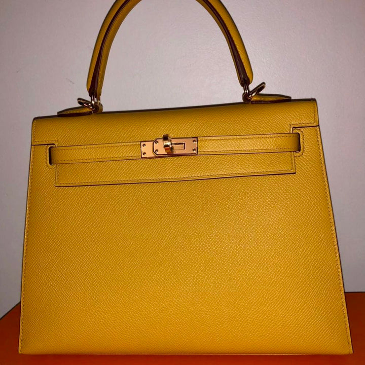 Hermès Kelly 25 Jaune Ambre Sellier Epsom Gold Hardware GHW
