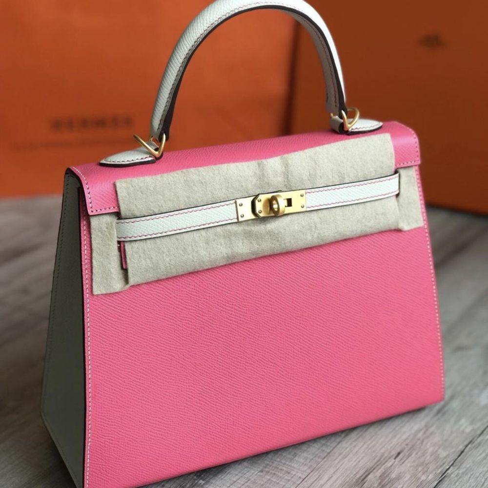 Hermès Kelly HSS 25 Rose Azalee/Craie Sellier Epsom Brushed Gold Hardware BGHW