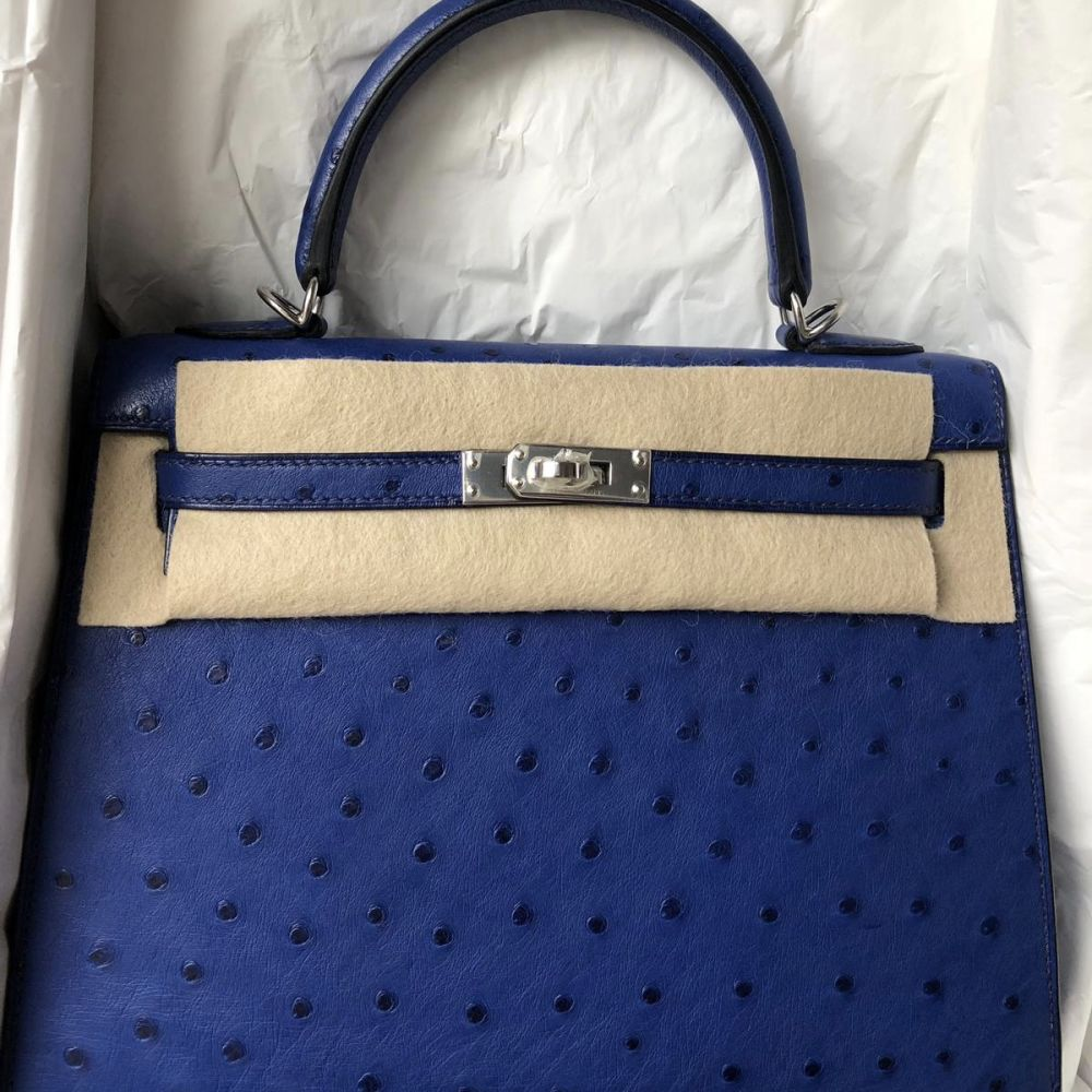 Hermès Kelly 25 Bleu Saphir Sellier Ostrich Palladium Hardware PHW C Stamp 2018 - The French Hunter