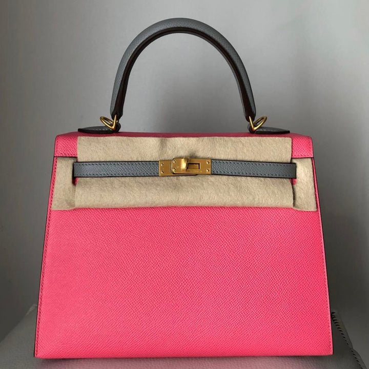 Hermès Kelly HSS 25 Rose Azalee/Gris Mouette Sellier Epsom Brushed Gold Hardware BGHW