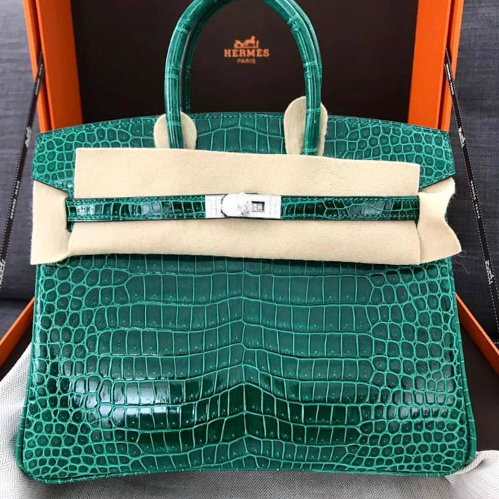 Hermès Birkin 25 Vert Emeraude Diamond buckle Crocodile Porosus Lisse Palladium Hardware PHW C Stamp 2018 - The French Hunter