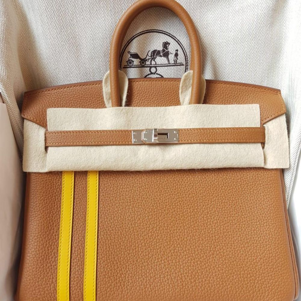 Hermès Birkin Limited Edition 25 Gold/Ambre Officier Togo Palladium Hardware PHW