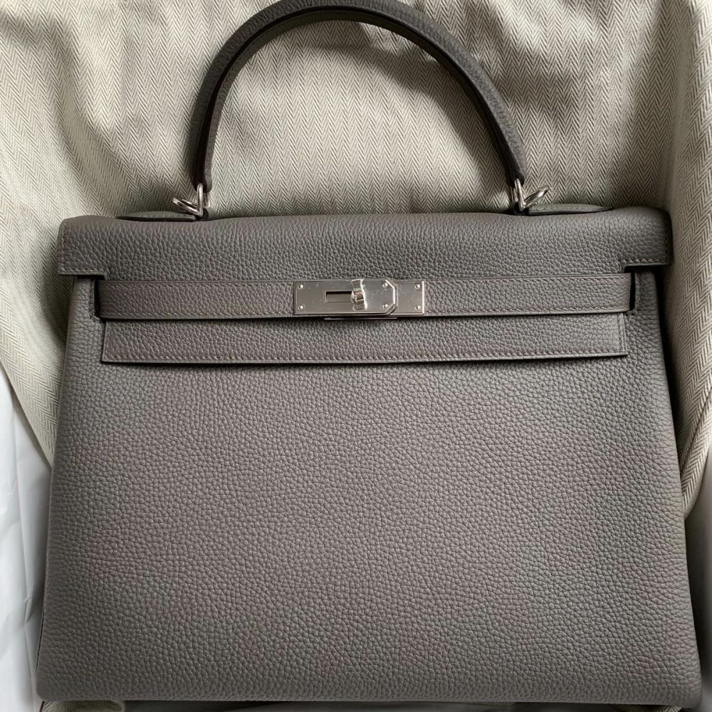 Hermès Kelly 32 Gris Etain Togo Palladium Hardware PHW C Stamp 2018 - The French Hunter