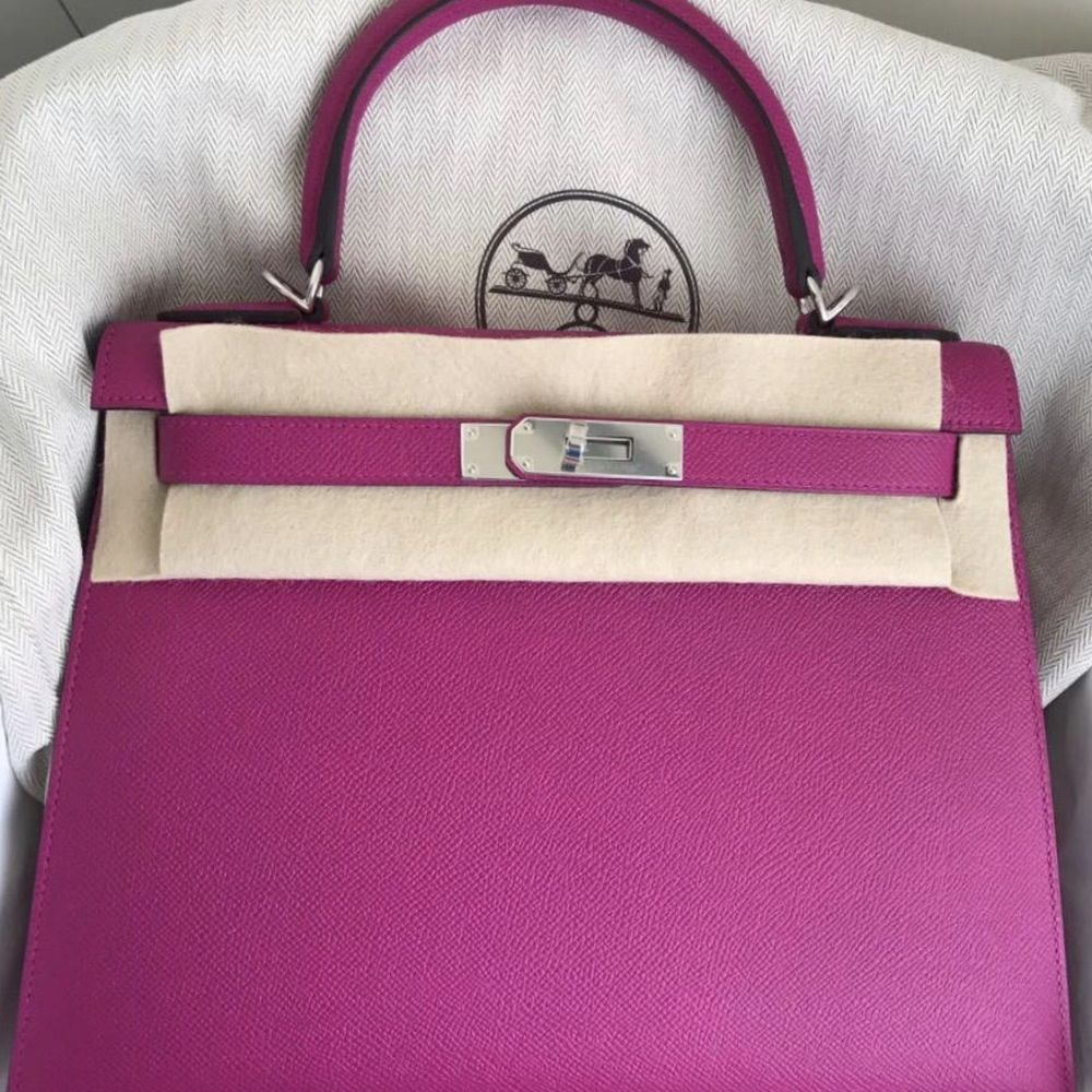 Hermès Kelly 28 Rose Pourpre Sellier Epsom Palladium Hardware PHW