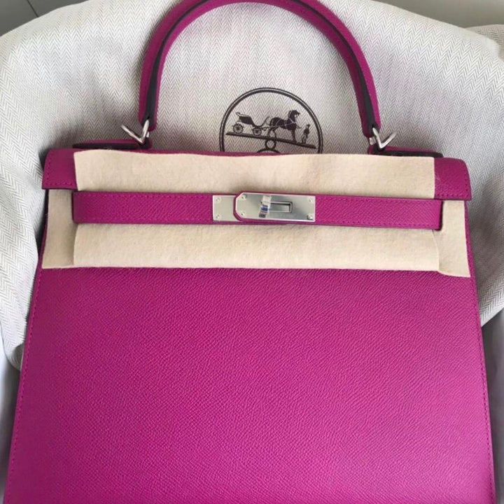 11a640f11098 Hermès Kelly 28 Rose Pourpre Sellier Epsom Palladium Hardware PHW C Stamp  2018