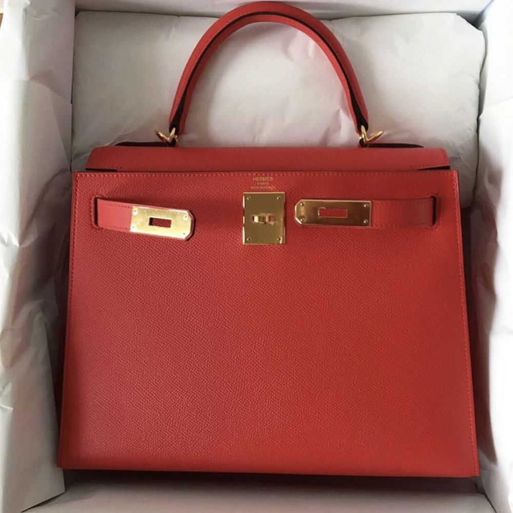 Hermès Kelly 28 Rouge Tomate Sellier Epsom Gold Hardware GHW