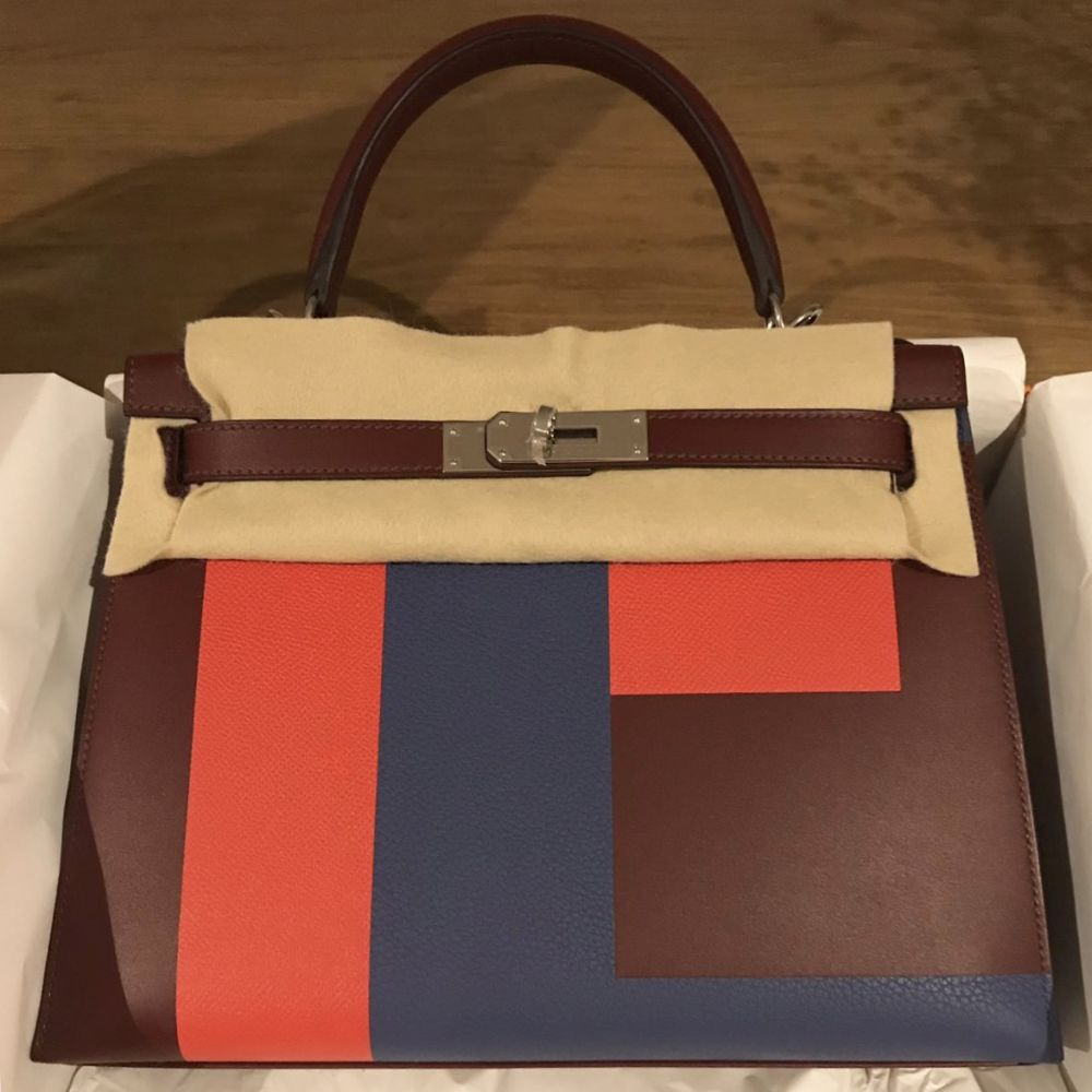 Hermès Kelly Limited Edition 28 Rouge H/Capucine/Bleu Brighton Lettre E Sombrero Palladium Hardware PHW