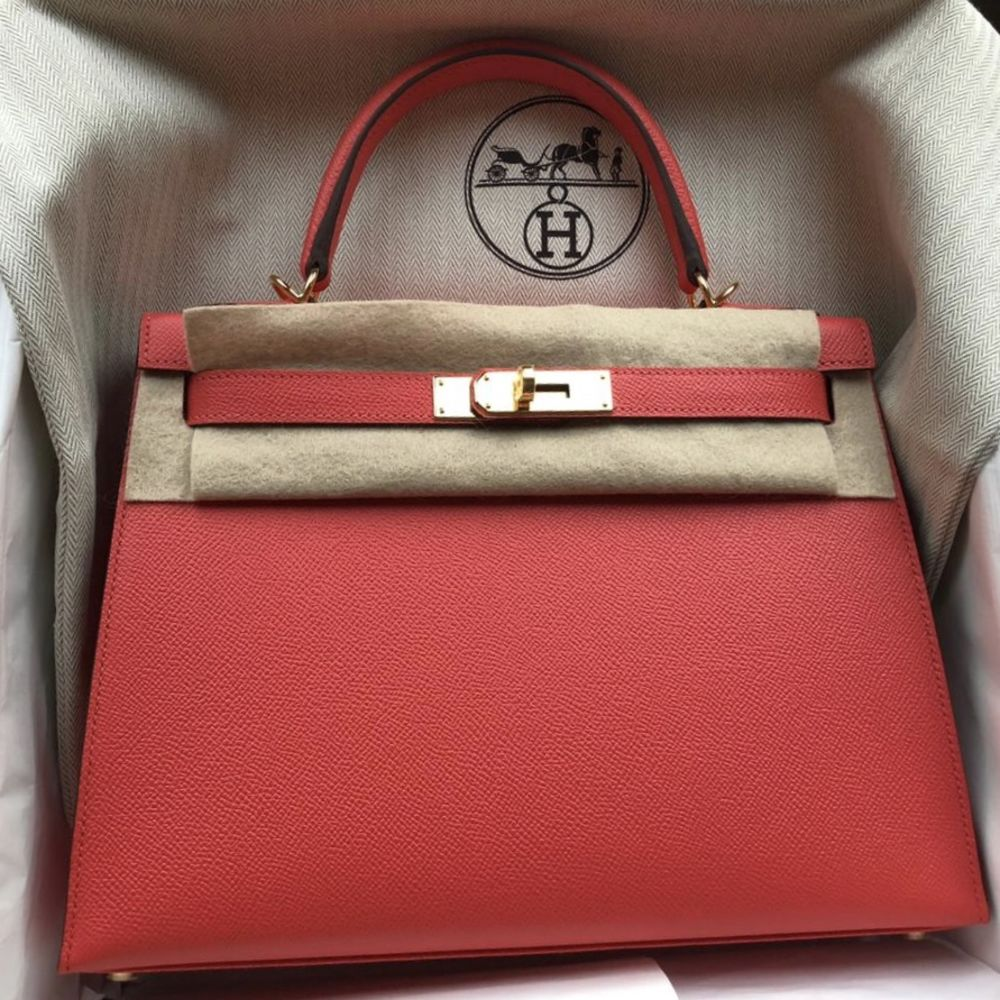 Hermès Kelly 28 Rose Jaipur Sellier Epsom Gold Hardware GHW