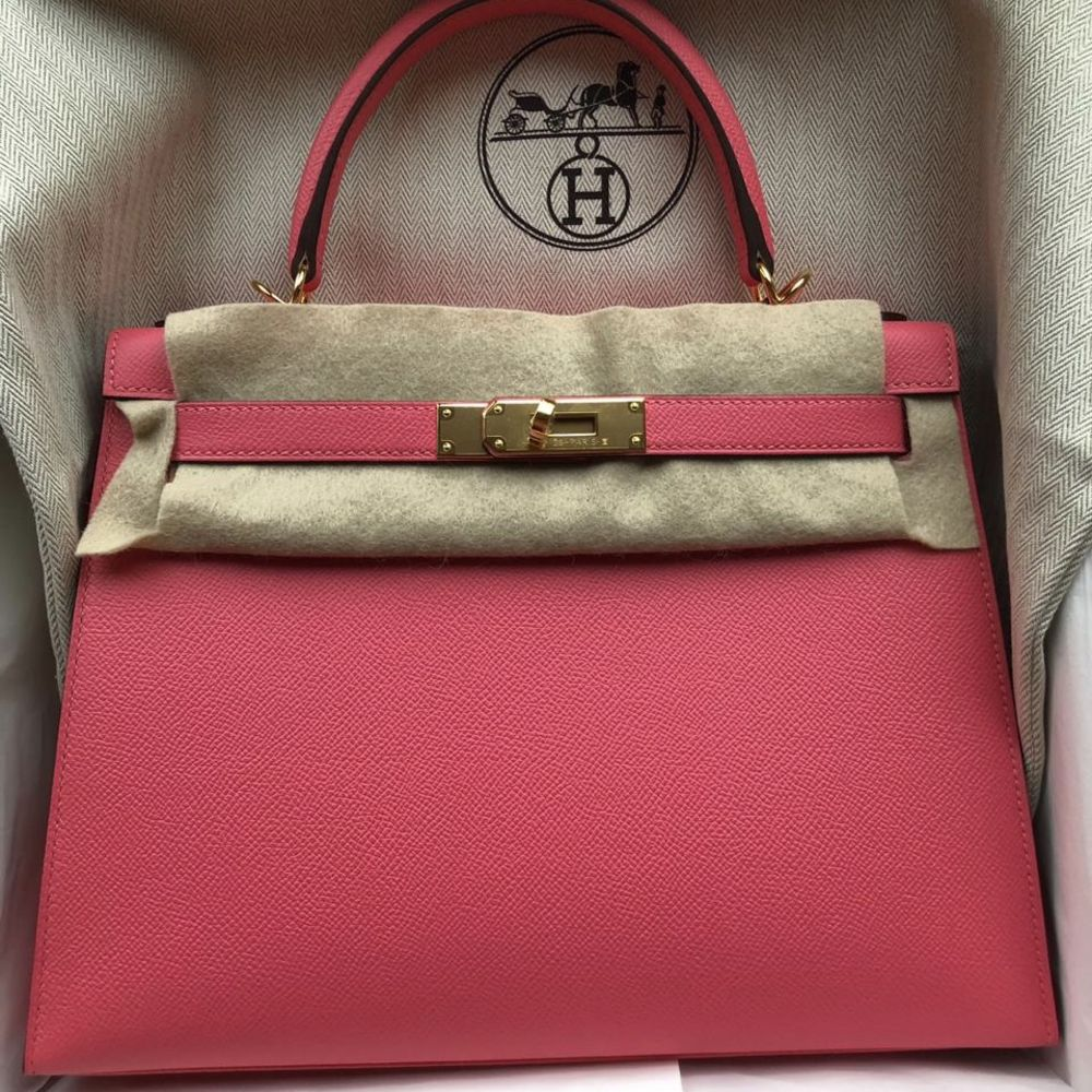 Hermès Kelly 28 Rose Azalee Sellier Epsom Gold Hardware GHW