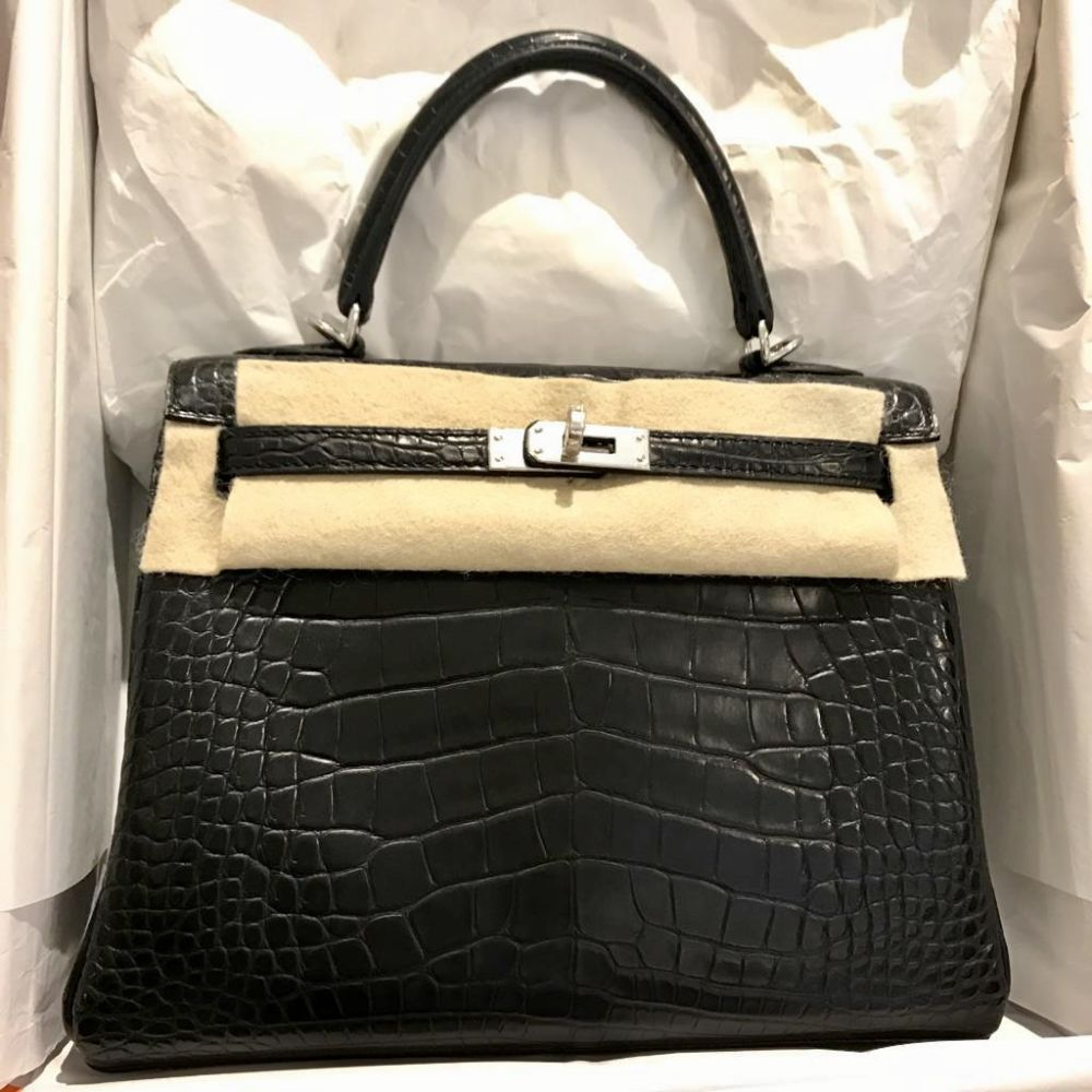 Hermès Kelly 25 Noir (Black) Alligator Mississippi Matte Palladium Hardware PHW