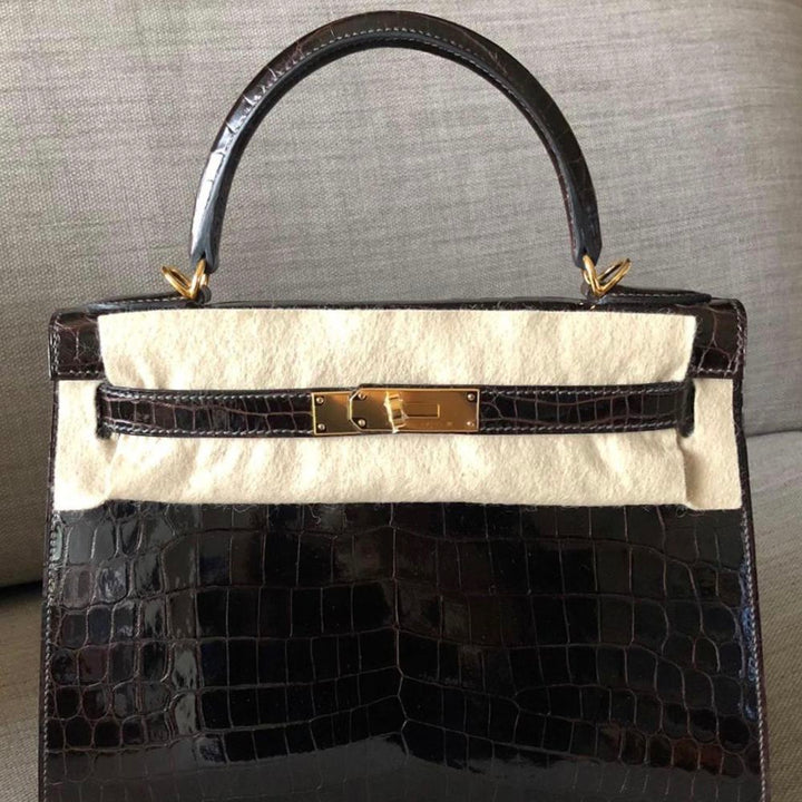 Hermès Kelly 28 Macassar Sellier Crocodile Niloticus Lisse Gold Hardware GHW
