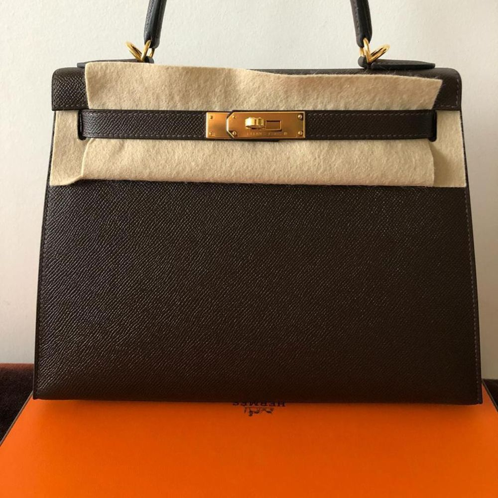 Hermès Kelly 28 Chocolat Sellier Epsom Gold Hardware GHW