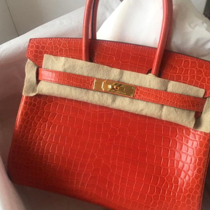 Hermès Birkin 30 Orange Poppy Crocodile Porosus Lisse Gold Hardware GHW