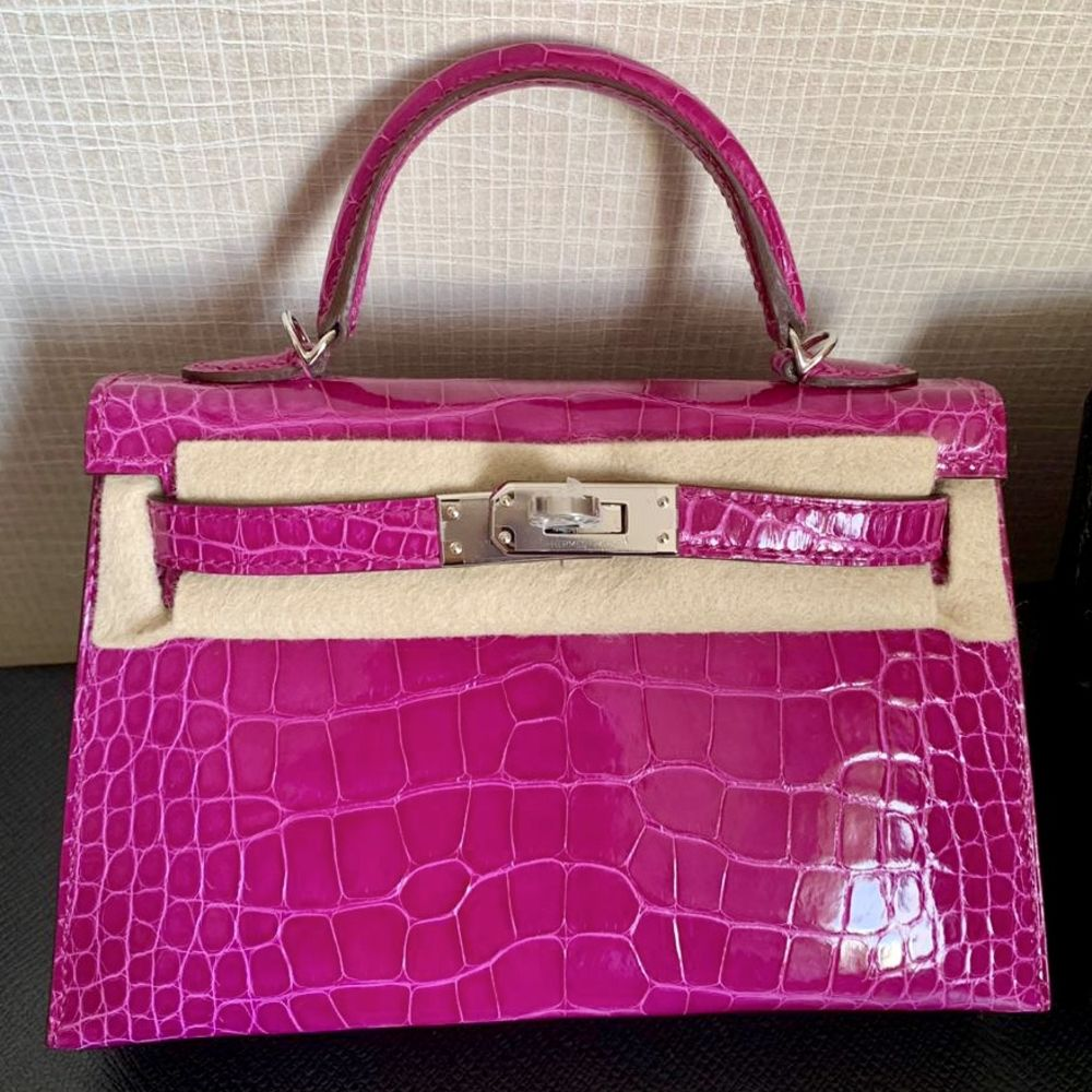 Hermès Kelly 20 Rose Sheherazade Alligator Mississippi Lisse Palladium Hardware PHW