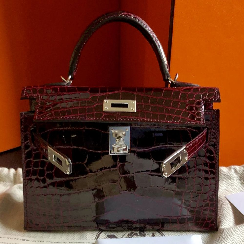 Hermès Kelly 20 Bordeaux Sellier Alligator Mississippi Lisse Palladium Hardware PHW