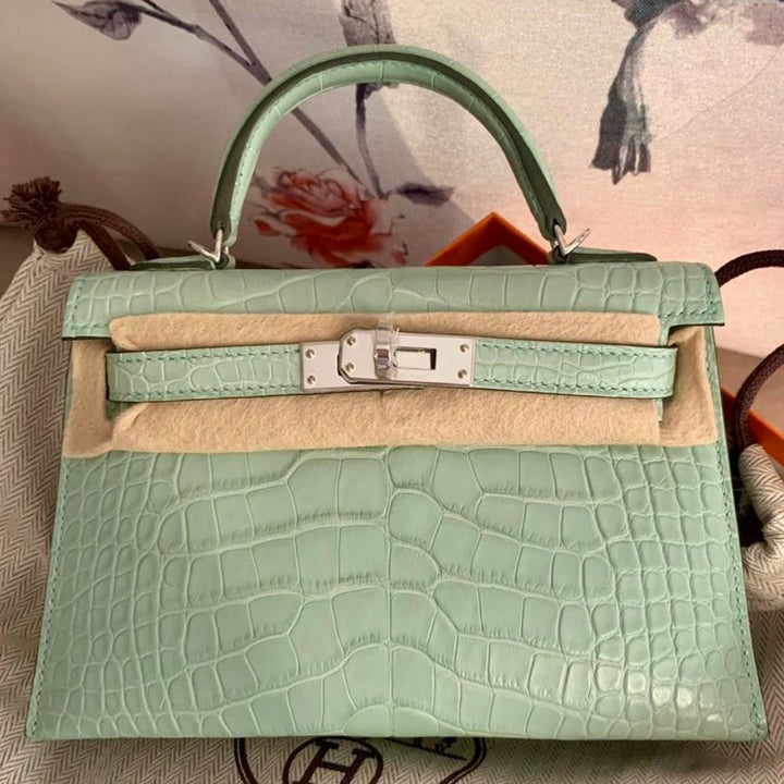 Hermès Kelly 20 Vert d'Eau Sellier Alligator Mississippi Matte Palladium Hardware PHW