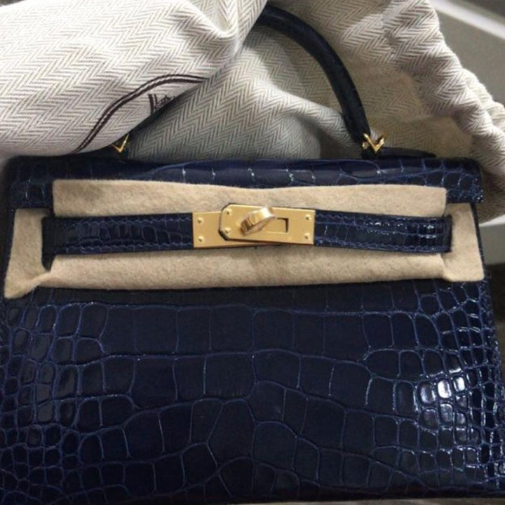 Hermès Kelly 20 Bleu Saphir Alligator Mississippi Lisse Gold Hardware GHW