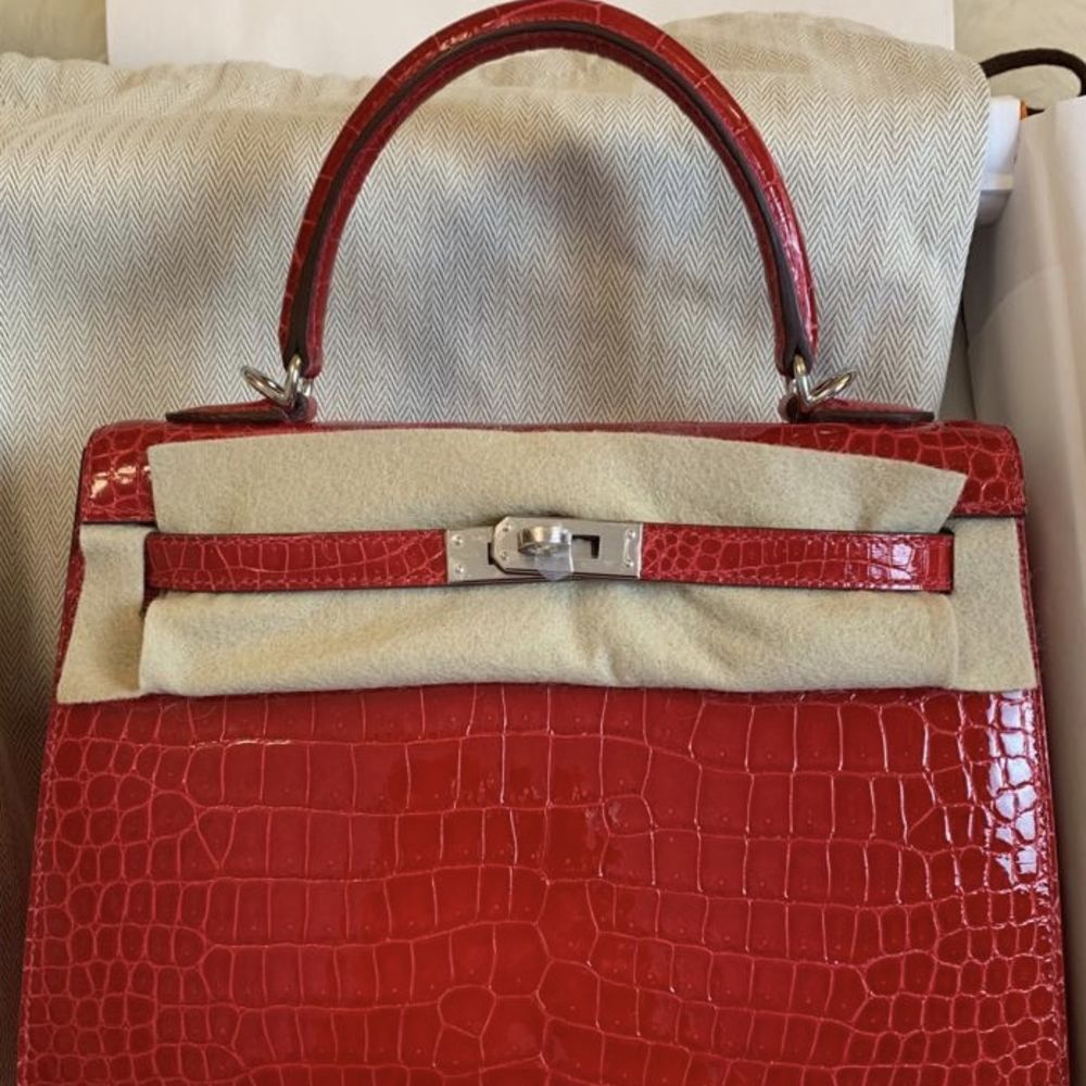 Hermès Kelly 25 Braise Sellier Crocodile Porosus Lisse Palladium Hardware PHW