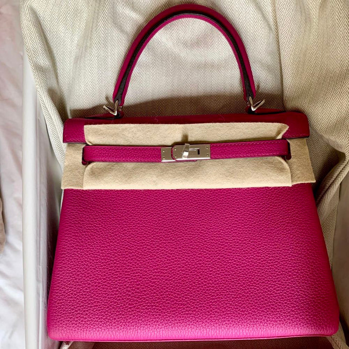 Hermès Kelly 28 Rose Pourpre Togo Palladium Hardware PHW