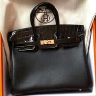 Hermès Birkin 25 Noir (Black) Touch Novillo Alligator Mississippi Lisse Gold Hardware GHW C Stamp 2018